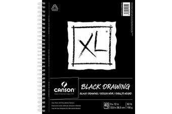(23cm  x 30cm ) - Canson XL Series Black Drawing Paper for Pencil, Acrylic Marker, Opaque Inks, Gouache and Pastels, Side Wire, 42kg, 23cm x 30cm , Black, 40 Sheets