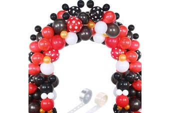 (Black Red Mouse Color) - 117 Mouse Balloon Garland Arch Kit Black Red White Gold/Rose Red Pink Balloon Garland Arch and Balloon Strip for Mouse Theme Party Baby Shower Birthday Wedding Decoration (Black Red Mouse Colour)