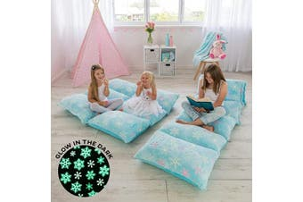 (Light Blue Snowflakes) - COLUX 3 IN 1 Glow in The Dark Floor Pillow COVER for Kids. COVER ONLY. Fold out chair bed, boy & girl pillow beds, kids couch, lounge chairs, happy nappers fold out sofa bed, teen body pillow loungers