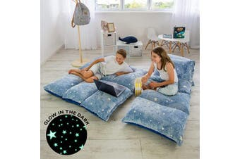 (Navy With White Stars) - COLUX 3 IN 1 Glow in The Dark Floor Pillow COVER for Kids. COVER ONLY. Fold out chair bed, boy & girl pillow beds, kids couch, lounge chairs, happy nappers fold out sofa bed, teen body pillow loungers