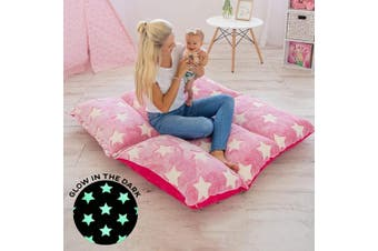 (Pink With White Stars) - COLUX 3 IN 1 Glow in The Dark Floor Pillow COVER for Kids. COVER ONLY. Fold out chair bed, boy & girl pillow beds, kids couch, lounge chairs, happy nappers fold out sofa bed, teen body pillow loungers