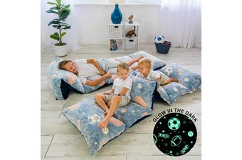 (Navy Grey Sports) - COLUX 3 IN 1 Glow in The Dark Floor Pillow COVER for Kids. COVER ONLY. Fold out chair bed, boy & girl pillow beds, kids couch, lounge chairs, happy nappers fold out sofa bed, teen body pillow loungers