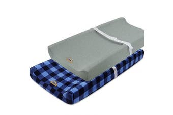 (navy buffola check) - Super Soft and Stretchy Changing Pad Cover 2pk by BlueSnail (Navy buffola Plaid)