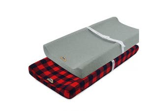 (red buffola check) - Super Soft and Stretchy Changing Pad Cover 2pk by BlueSnail (red buffola Plaid)