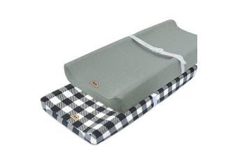 (grey buffola plaid) - Super Soft and Stretchy Changing Pad Cover 2pk by BlueSnail (Grey buffola Plaid)