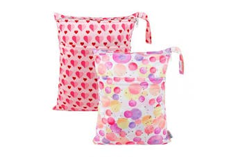 (All in one, pink) - ALVABABY 2pcs Cloth Nappy Wet Dry Bags Waterproof Reusable with Two Zippered Pockets Travel Beach Pool Daycare Soiled Baby Items Yoga Gym Bag for Swimsuits or Wet Clothes LZ0102