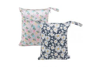 (All in one, floral&daisy) - ALVABABY 2pcs Cloth Nappy Wet Dry Bags Waterproof Reusable with Two Zippered Pockets Travel Beach Pool Daycare Soiled Baby Items Yoga Gym Bag for Swimsuits or Wet Clothes L0821