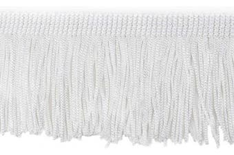 (13.7 Yard x 5.1cm , Bleach) - BEL AVENIR Lace Chainette Fringe Trim 13.7 Yard x 5.1cm Polyester Tassel Trim with Hand Knitting for Home Accessories DIY Decoration (Bleach, 13.7 Yard x 5.1cm )