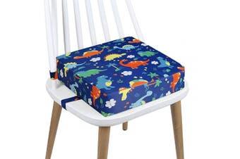 (Blue-Dinosaur) - Toddler Booster Seat Dining, Cartoon Canvas Washable 2 Straps Safety Buckle Kids Booster Seat for Dining Table, Portable Travel Increasing Cushion (Dinosaur-Blue)