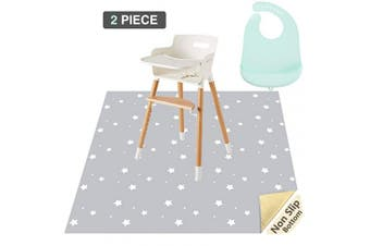 (Star) - Splat Mat for Under High Chair and Silicone Baby Bib 2-Piece Set, CLCROBD 130cm Baby Anti-Slip Food Splash and Spill Mat for Eating Mess, Waterproof Floor Protector