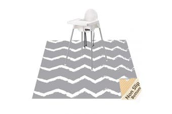 (Chevron) - Large Splat Mat for Under High Chair/Arts/Crafts, WOMUMON Washable, Waterproof, Non Slip, Portable Floor Protector for Baby, Kids, Durable Spill, Splash Mat for Pet (Chevron)