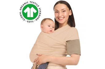 (Beige) - Baby Wrap Carrier Holder - Beige - Toddler, Newborn, Infant, Child - Front, Hip and Kangaroo Holds - Ergonomic Baby Wearing for Men and Women - Organic Cotton