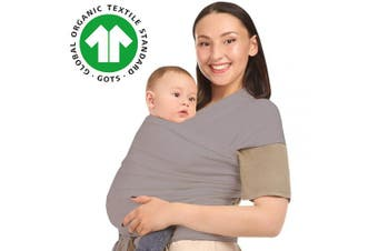 (Grey) - Baby Wrap Carrier Holder - Grey - Toddler, Newborn, Infant, Child - Front, Hip and Kangaroo Holds - Ergonomic Baby Wearing for Men and Women - Organic Cotton