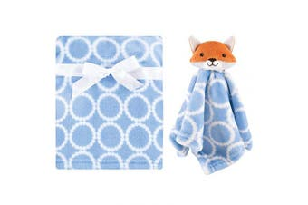 (One Size, Blue Fox) - Hudson Baby Unisex Baby Plush Blanket with Security Blanket, Blue Fox, One Size