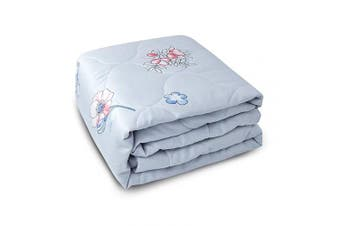(100cm  x 130cm , Grey, Flower) - Zenssia Ultra Soft Cotton Toddler Quilt - Breathable Light Weight and Warm Baby Crib Comforter Solid Colour with Diamond Quilted Pattern for Baby, Toddler Boy or Girl - Grey Flower
