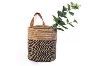 (Jute) - Wall Hanging Storage Baskets - Small Cotton Rope Woven Closet Storage Bins-Shelf Basket Organiser for Plants, Towels,Toys - 16cm x 18cm (Jute)