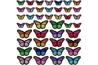 60pcs Butterfly Iron on Patches, 2 Size Embroidered Sew Applique Repair Patch