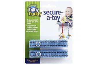 (Blue/Brown Stitch) - Baby Buddy 2 Piece Secure-A-Toy, Blue/Brown Stitch