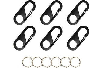 (Black) - Temlum Stainless Mini Carabiners Key Ring Small Carabiner Clip Keychain Tiny Snap Hook Accessories