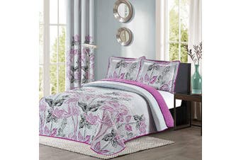 (Full/Queen Size, Purple & Grey) - All American Collection Purple and Grey Modern Plaid 3-Piece Queen Bedspread and Pillow Sham Set | Matching Curtains Available!