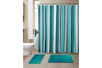 (Stripe Turquoise) - All American Collection 15-Piece Bathroom Set with 2 Memory Foam Bath Mats and Matching Shower Curtain | Designer Patterns and Colours