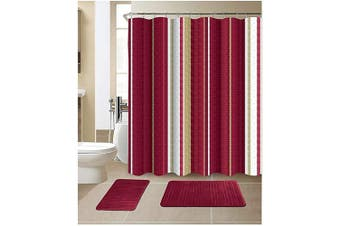 (Stripe Burgundy) - All American Collection 15-Piece Bathroom Set with 2 Memory Foam Bath Mats and Matching Shower Curtain | Designer Patterns and Colours