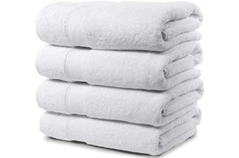 (80cm  x 140cm  Bath Towels, White) - Maura 4 Piece Bath Towel Set. Extra Large 80cm x 140cm Premium Turkish Towels. Thick, Soft, Plush and Highly Absorbent Luxury Hotel & Spa Quality Towels - White