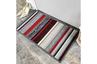 (Doormat, Red / Black) - Doormat 18x30 Red Black Stripes Kitchen Rugs and mats | Rubber Backed Non Skid Rug Living Room Bathroom Nursery Home Decor Under Door Entryway Floor Non Slip Washable | Made in Europe