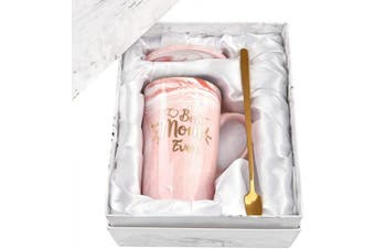 (Pink) - Best Mom Ever Mug Best Mom Gifts from Daughter Son Gifts for Mom Coffee Mug Mother's Day Birthday Gifts 410ml with Gift Box and Spoon Coaster Pink Marble Mom Mug