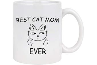 (White-Mom) - Best Cat Mom Ever Coffee Mug Cat Mom Coffee Mug Cat Mom Gifts for Women Cat Stuff for Cat Lovers Mother's Day Birthday Gifts for Mom from Daughter Kids 330ml