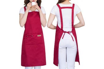 (Red) - H Style Adjustable Unisex Apron with 2 Pockets, Water Drop Resistant Apron for Women, Chef, Waiters, Artist, Grill Kitchen Restaurant Bar Shop Adjustable Large Size Comfortable (Red)