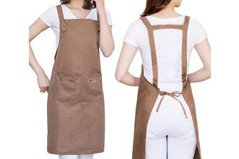 (Brown) - H Style Adjustable Unisex Apron with 2 Pockets, Water Drop Resistant Apron for Women, Chef, Waiters, Artist, Grill Kitchen Restaurant Bar Shop Adjustable Large Size Comfortable (Brown)