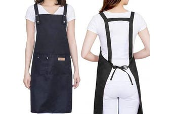 (Black) - H Style Adjustable Unisex Apron with 2 Pockets, Water Drop Resistant Apron for Women, Chef, Waiters, Artist, Grill Kitchen Restaurant Bar Shop Adjustable Large Size Comfortable (Black)