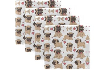 (4) - ALAZA Funny Cartoon Pugs Puppies Cloth Napkins Dinner Napkins Set of 4,Reusable Table Napkins Washable Polyester Fabric for Cocktail Party Holiday Wedding Home Decorative