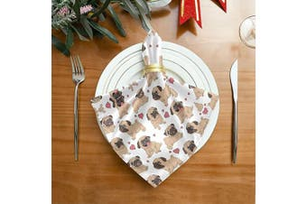 (1) - ALAZA Funny Cartoon Pugs Puppies Cloth Napkins Dinner Napkins 1 Piece,Reusable Table Napkins Washable Polyester Fabric for Cocktail Party Holiday Wedding Home Decorative