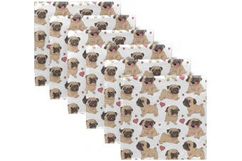 (6) - ALAZA Funny Cartoon Pugs Puppies Cloth Napkins Dinner Napkins Set of 6,Reusable Table Napkins Washable Polyester Fabric for Cocktail Party Holiday Wedding Home Decorative