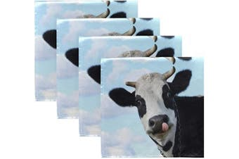 (4) - ALAZA Funny Smiling Cow Tongue Blue Sky Cloth Napkins Dinner Napkins Set of 4,Reusable Table Napkins Washable Polyester Fabric for Cocktail Party Holiday Wedding Home Decorative
