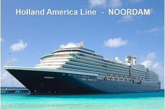 CRUISE SHIP FRIDGE MAGNET - HOLLAND AMERICA LINE MS NOORDAM 3½ x 2½ inches Jumbo