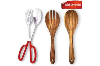 Buffet Tongs,Acacia Salad Servers,AIVS Stainless Steel Buffet Party Catering Serving Tongs and 25cm Wood Spoon & Fork Set Cooking Utensils,Set of 3