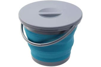 (Blue) - Ahyuan Collapsible Water Bucket with Locking Lid Multifunction Foldable Round Tub Water Pot Portable Water Pail Space Saving Water Container for RV, Camping, Marine, Outdoor Activities and Home (Blue)