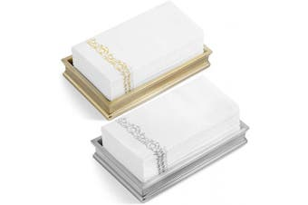 (100, Silver Brocade) - American Homestead Linen Feel Guest Towels Disposable Cloth Like Paper Hand Napkins Soft, Absorbent, Paper Hand Towels for Kitchen, Bathroom, Parties, Weddings, Dinners or Events (Silver Brocade, 100)