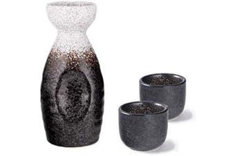 (Snow Cap) - Hinomaru Collection Ichigo Sake Set Tokkuri 150ml Bottle with Two Sake Ochoko Cups 60ml Reactive Glaze Ceramic (Snow Cap)
