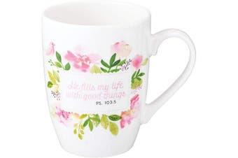 (He Fills My Life) - He Fills My Life Psalm 103:5 Ceramic Christian Coffee Mug for Women and Men - Inspirational Coffee Cup and Christian Gifts (350ml Ceramic Cup)