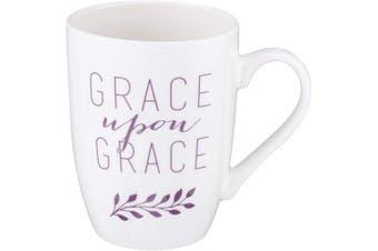 (Grace Upon Grace) - Grace Upon Grace 1 John 1:16 Ceramic Christian Coffee Mug for Women and Men - Inspirational Coffee Cup and Christian Gifts (350ml Ceramic Cup)