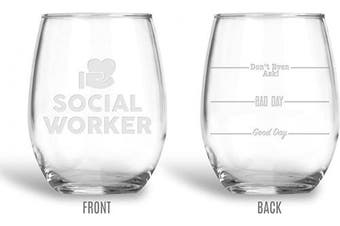 BadBananas Social Worker Gifts - Good Day, Bad Day, Don't Even Ask 620ml Engraved Stemless Social Worker Wine Glass with Leatherette Coaster
