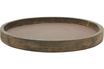 (Large) - Stonebriar Rustic Natural Wood and Metal Candle Holder Tray, Home Decor Accessories for the Coffee Table and Dining Table, Large