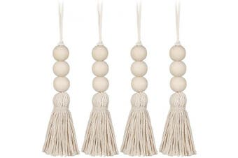 (4 PCS-2) - VOSAREA 4 pcs Wood Bead Garland Farmhouse Rustic Beads with Country Tassels Home Decor Prayer Beads Closet Door Handle Knob Decorations