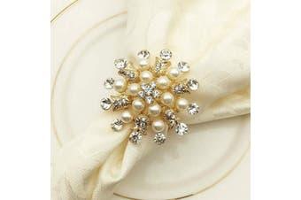 (Golden) - Joyindecor Napkin Rings Set of 6-Flower Pearl Rhinestone Napkin Ring Holder for Wedding Party Home Kitchen Dining Table Linen Accessories (Golden)