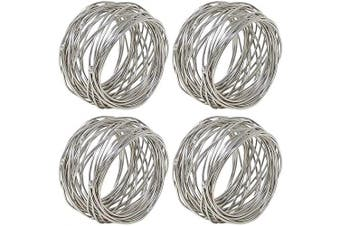 (4, Silver) - Divine glance Metal Mesh Napkin Rings Set for Dining Table: 5.1cm Diameter x 3.8cm High (4, Silver)