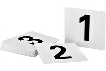 (Numbers 1 to 50) - Alpine Industries Double-Sided Plastic Table Numbers - 10cm x 10cm Heavy Duty Number Cards - Perfect for Restaurants, Establishments & Special Events or Functions (Numbers 1 to 50)
